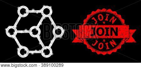 Glare Mesh Polygonal Blockchain With Light Spots, And Join Unclean Ribbon Stamp. Red Stamp Seal Has