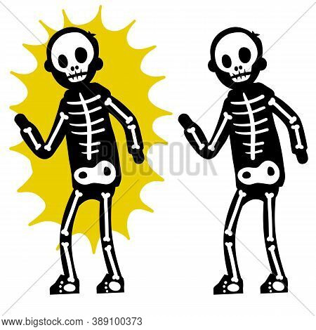 Electric Shock. The Silhouette Of The Skeleton And Yellow Lightning Flash.