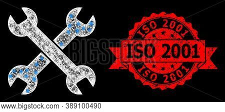 Bright Mesh Polygonal Spanners With Light Spots, And Iso 2001 Textured Ribbon Stamp Seal. Red Stamp