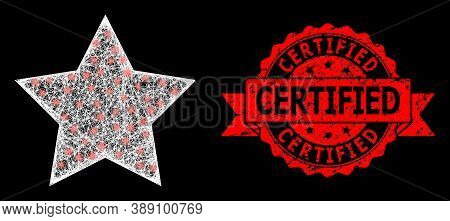 Shiny Mesh Net Red Star With Light Spots, And Certified Textured Ribbon Stamp. Red Stamp Includes Ce