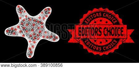 Glare Mesh Polygonal Bent Star With Light Spots, And Editors Choice Rubber Ribbon Seal Imitation. Re