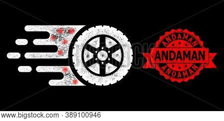 Glowing Mesh Web Tire Wheel With Glowing Spots, And Andaman Grunge Ribbon Seal Print. Red Stamp Incl