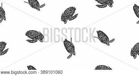 Hand Drawn Swimming Ornate Turtle Seamless Pattern. Vector Black Ink Drawing Animal Background. Grap