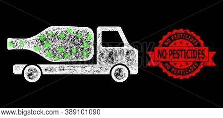 Glowing Mesh Polygonal Wine Delivery With Glowing Spots, And No Pesticides Unclean Ribbon Stamp Seal