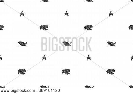 Swimming Ornate Turtles Seamless Pattern. Vector Black Ink Drawing Animal Background. Hand Drawn Gra