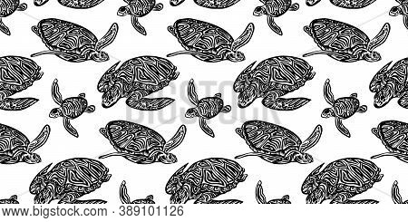 Swimming Ornate Turtles Seamless Pattern. Vector Black Ink Drawing Animal Background. Hand Drawn Mon