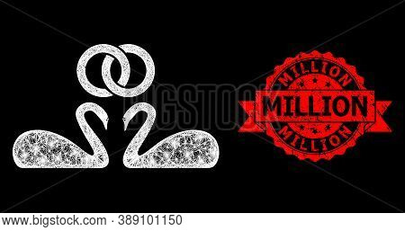 Glowing Mesh Web Wedding Swans With Glowing Spots, And Million Rubber Ribbon Stamp Seal. Red Stamp S