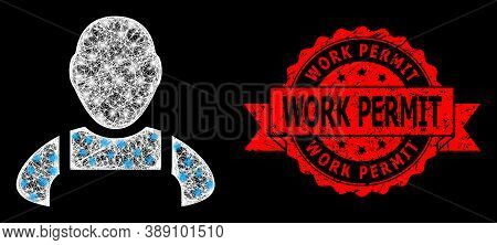 Glowing Mesh Polygonal Worker With Glowing Spots, And Work Permit Unclean Ribbon Seal Imitation. Red