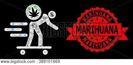 Glowing Mesh Network Express Cannabis Courier With Glowing Spots, And Marihuana Dirty Ribbon Seal Im