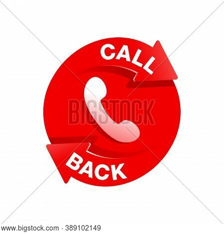 Call Back Icon  - Phone Handset Pictogram With Circular Direction Arrow Which Symbolizes Callback Se