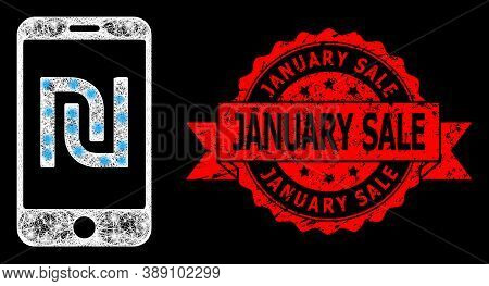 Bright Mesh Polygonal Shekel Mobile Bank With Lightspots, And January Sale Rubber Ribbon Seal. Red S