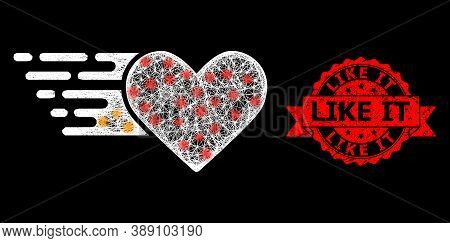 Glare Mesh Polygonal Love Heart With Light Spots, And Like It Textured Ribbon Stamp. Red Stamp Seal