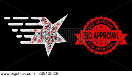 Shiny Mesh Polygonal Star With Lightspots, And Iso Approval Unclean Ribbon Seal Print. Red Stamp Sea