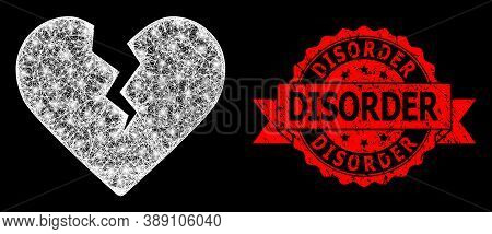 Bright Mesh Net Divorce Heart With Lightspots, And Disorder Scratched Ribbon Seal Print. Red Stamp S