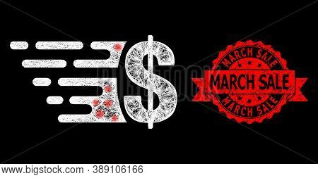 Glare Mesh Polygonal Dollar With Light Spots, And March Sale Dirty Ribbon Stamp Seal. Red Stamp Seal