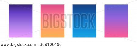 Gradient Sky Set. Ui Design Template. Mobile App Texture With Beautiful Color. Smartphone Wallpaper