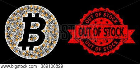 Glowing Mesh Polygonal Bitcoin Coin With Light Spots, And Out Of Stock Rubber Ribbon Seal Print. Red