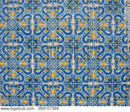 Ornamental Old Typical Tiles From Portugal Called Made With Colored Ceramic Tiles, Who Decorates The