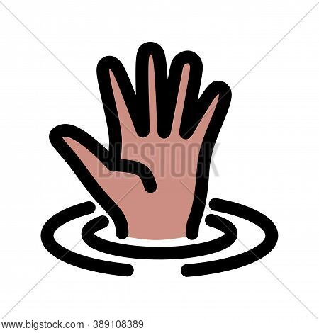 Drowning Victim Thin Line Vector Icon. Flat Icon Isolated On The Black Background. Editable Eps File