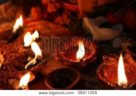 traditional lamps on the festival of diwali night poster