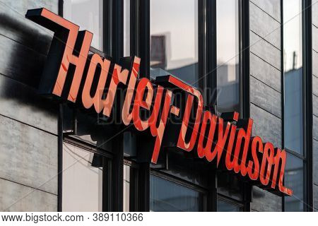 Harley Davidson Logo On Office Building Facade Close Up, Moscow 05/10/2020