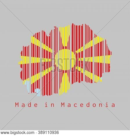 Barcode Set The Shape To Macedonia Map Outline And The Color Of Macedonia Flag On Grey Background, T
