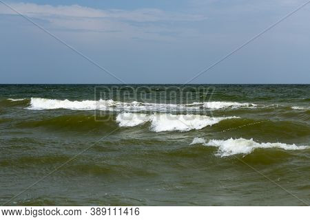 Waves With Crests On The Sea Surface, Use As A Background Or Texture