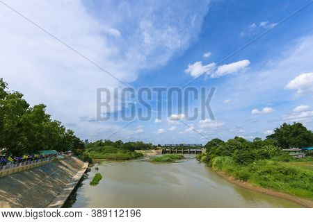 Views Of The River And Beautiful Nature Behind The Rama Vi Dam, Ayutthaya Province In Thailand.