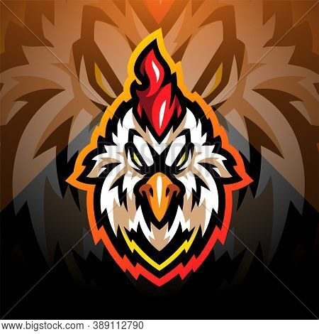 Rooster Head Esport Mascot Logo Design With Background