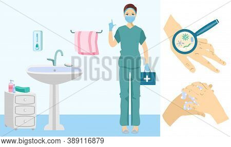 Protection Against Bacteria And Germs. Hygiene Poster With Doctor. Medical Officer In Bath. Hand Wit
