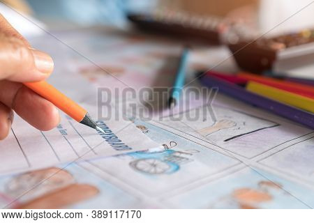 Hands Drawing Storyboard Animation Comic For Pre-production Process, Design Creative Story Scene Lay