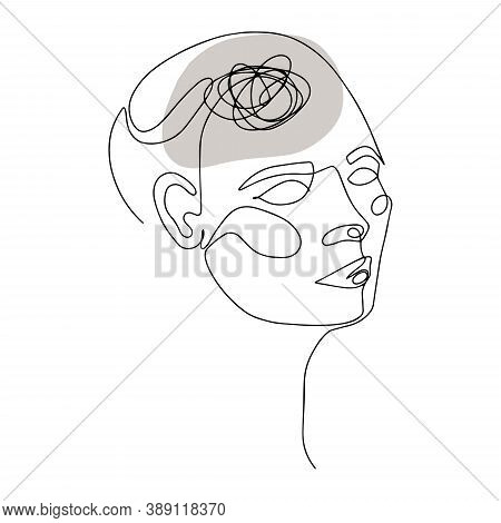 Line Drawing Of Human Head With Confused Thoughts In His Brain. Vector Illustration For Therapist An