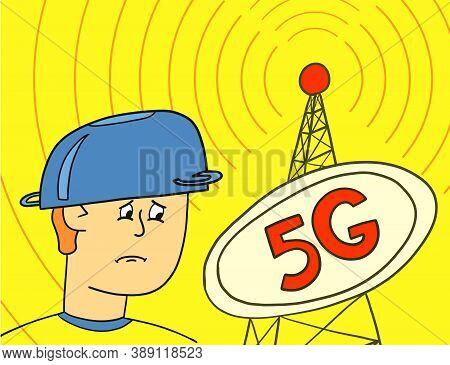 5g Telecommunications Equipment Spreads The Wave To The Guy In The Pot On His Head. Man Is Afraid Of