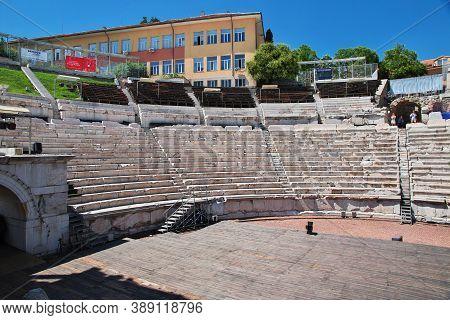 Plovdiv, Bulgaria - 12 Jul 2015: Plovdiv Roman Theatre, Ancient Stadium Of Philippopolis, Bulgaria