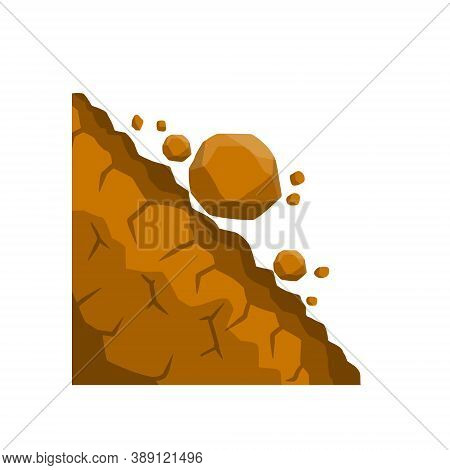 Rock Rolls Off A Cliff. Falling Boulders. Rockfall And Landslide.