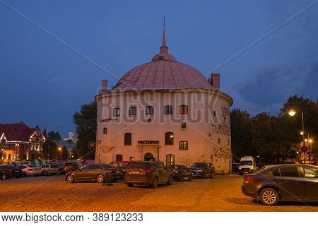 Vyborg, Russia - October 03, 2020: Ancient Round Tower In October Twilight