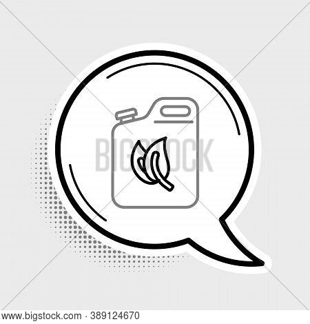 Line Bio Fuel Canister Icon Isolated On Grey Background. Eco Bio And Barrel. Green Environment And R