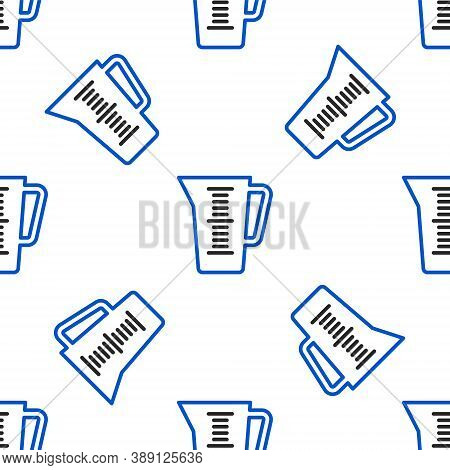 Line Measuring Cup To Measure Dry And Liquid Food Icon Isolated Seamless Pattern On White Background