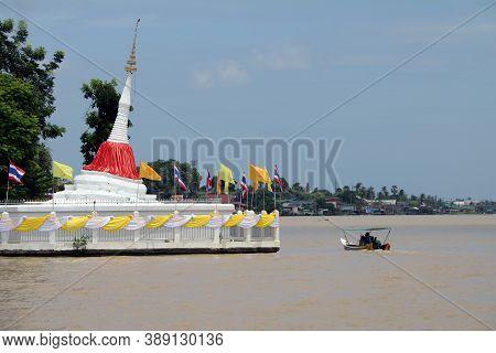 Nonthaburi, Thailand July 29, 2017: Leaning Pagoda At Koh Kret (kret Island In Chao Phraya River) Wh