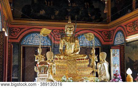 Koh Kret Island, Nonthaburi, Thailand - July 29, 2017 : The Main Brass Buddha Statue In The Church O