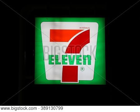 Nakhon Pathom, Thailand - Sep 17, 2017: The Light Box Of 7 Eleven Mini Mart Logo In Front Of The Sho