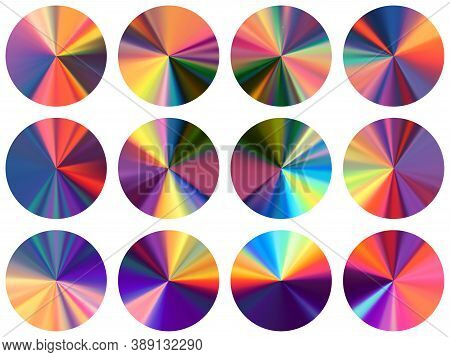 Circular Metallic Gradient Web Elements Vector Collection. Polished Modern Medal Shapes. Banner Meta