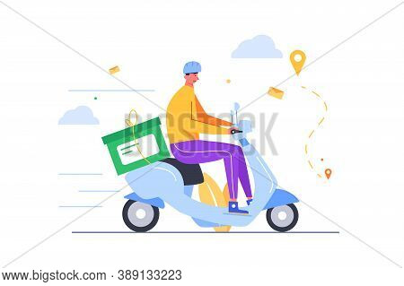 The Guy Delivers Business Correspondence On A Scooter