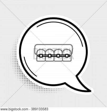 Line Teeth With Braces Icon Isolated On Grey Background. Alignment Of Bite Of Teeth, Dental Row With