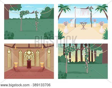 Wedding Reception Flat Color Vector Illustration Set. Floral Archway. Chapel For Ceremony. Venue For