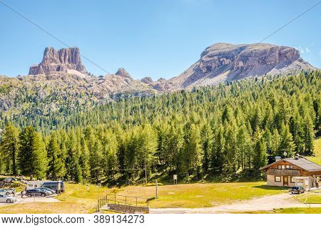 Falzarego,italy - September 9,2020 - View At The Nature Near Falzarego Pass . The Falzarego Pass Is