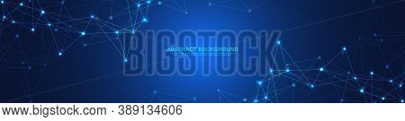 Website Header Or Banner Design With Abstract Geometric Background And Connecting Dots And Lines. Gl
