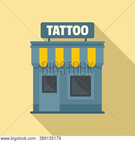 Tattoo Studio Building Icon. Flat Illustration Of Tattoo Studio Building Vector Icon For Web Design
