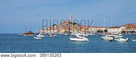 ROVINJ, CROATIA, 23 SEPTEMBER, 2020: Sailing boats in Rovinj Harbour on the Dalmatian Coast, Croatia, Europe