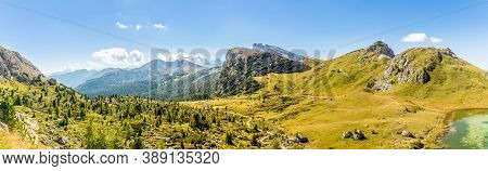 Panoramic View From The Valparola Pass In Dolomites - South Tyrol,italy